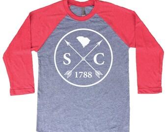 Homeland Tees South Carolina Arrow Tri-Blend Raglan Baseball Shirt