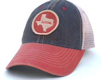 Homeland Tees Texas Home State Vintage Trucker Hat - Blue and Red