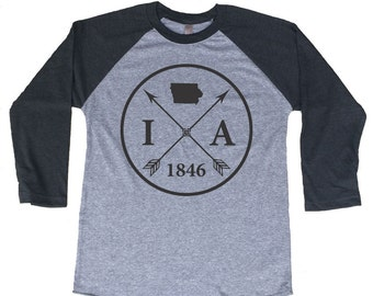 Homeland Tees Iowa Arrow Tri-Blend Raglan Baseball Shirt