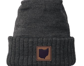 Homeland Tees Ohio Leather Patch Cuff Beanie