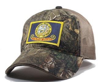 Homeland Tees Idaho Flag Hat - Realtree Camo Trucker