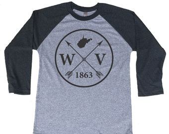 Homeland Tees West Virginia Arrow Tri-Blend Raglan Baseball Shirt