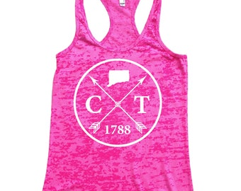 Homeland Tees Connecticut Arrow Women's Burnout Racerback Tank Top