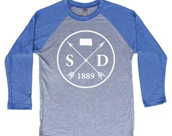 Homeland Tees South Dakota Arrow Tri-Blend Raglan Baseball Shirt