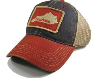d060bc1fdc9 Homeland Tees Kentucky Bourbon Trucker Hat - Red Blue