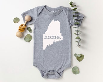 Homeland Tees Maine Home Bodysuit Coming Home Outfit Shower Gift Newborn Baby Boy Girl