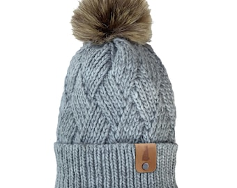 Homeland Tees New Hampshire Leather Label Faux Fur Pom Beanie