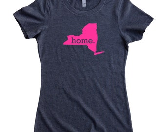 New York Home State T-Shirt Women's Tee PINK EDITION - Sizes S-XXL