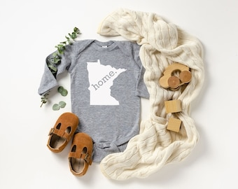 Homeland Tees Minnesota Home Unisex Long Sleeve Baby Bodysuit