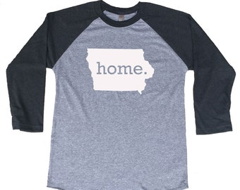 Homeland Tees Iowa Home Tri-Blend Raglan Baseball Shirt