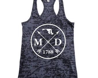 Homeland Tees Maryland Arrow Women's Burnout Racerback Tank