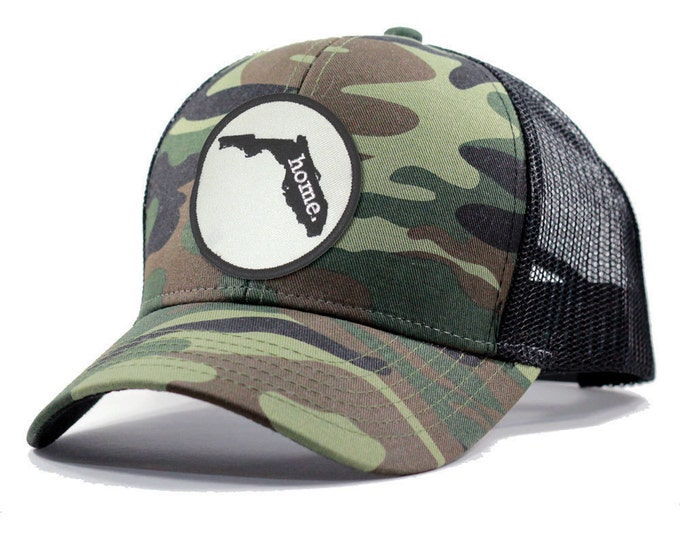 Featured listing image: Homeland Tees Florida Home Army Camo Trucker Hat