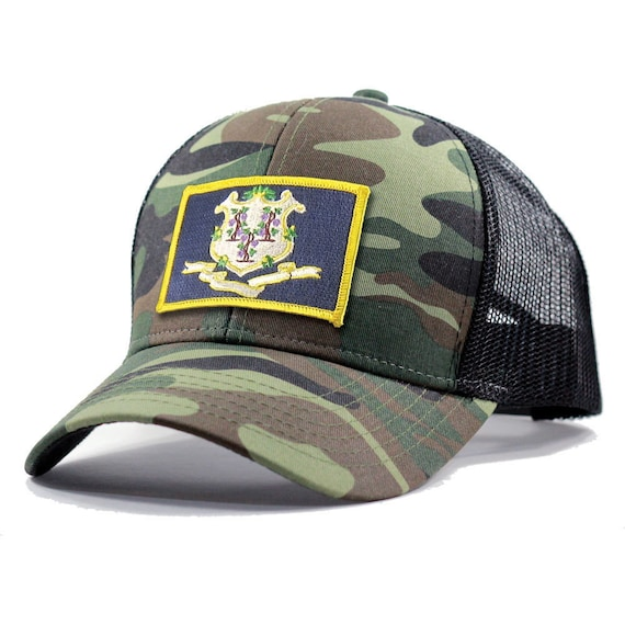 0555ee9d22f Homeland Tees Connecticut Flag Hat Army Camo Trucker
