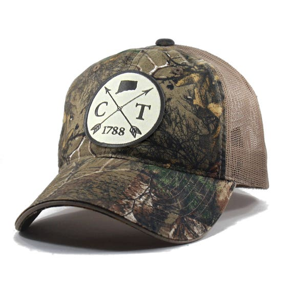 facf9801a3a Homeland Tees Connecticut Arrow Hat Realtree Camo Trucker