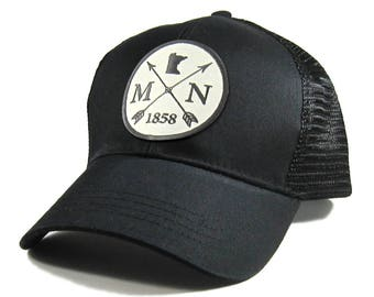 Homeland Tees Minnesota Arrow Hat - All Black Trucker