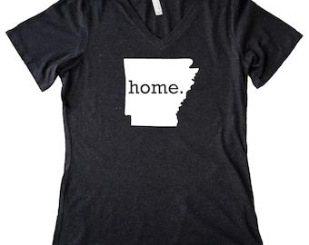 Homeland Tees V Neck Arkansas Home State Women's Triblend T-Shirt
