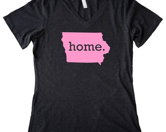 V Neck Iowa Home State T-Shirt Women's PINK EDITION Triblend Tee - Sizes S-XXL