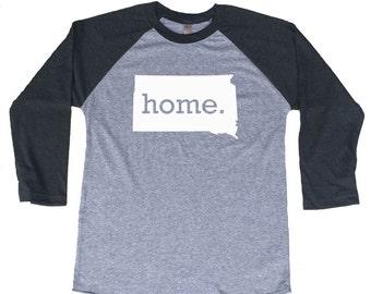 Homeland Tees South Dakota Home Tri-Blend Raglan Baseball Shirt
