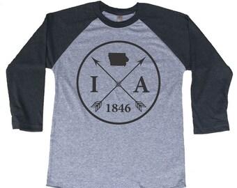Homeland Tees Iowa Arrow Tri-Blend Raglan Baseball Shirt
