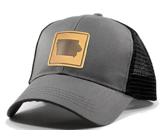 Homeland Tees Iowa Leather Patch Hat - Trucker