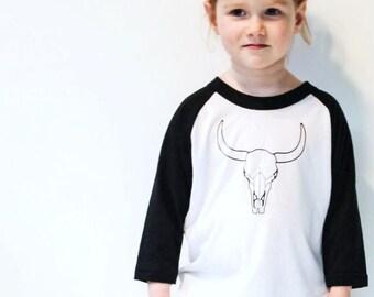 f1f86280 Cow Skull Raglan Shirt - Cool Kids Clothes - Monochrome Toddler/Kids Shirt  - Black and White - Trendy Kids Clothes - Hipster Kids Clothing