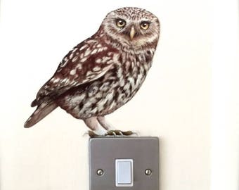 Owl Sticker Wall Decal - Oswald Little Owl - Removable - Animal stickers - Wall murals - restickable - Bird art - wall decorations