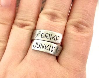 Crime Junkie Crime Lover Adjustable Wrap Ring