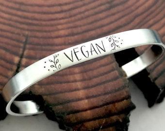 Vegan Cuff Bracelet Hand Stamped Jewelry