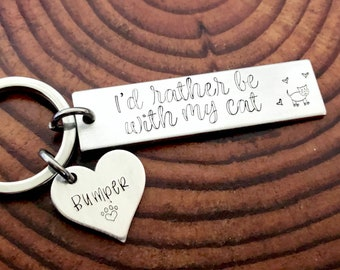 I'd Rather Be With My Cat(s) Personalized Pet Cat Keychain