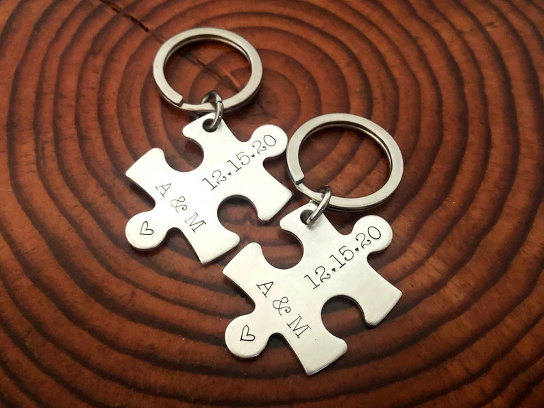 Custom Initials and Date Puzzle Keychain Couple/'s Keychain Personalized Valentine/'s Day