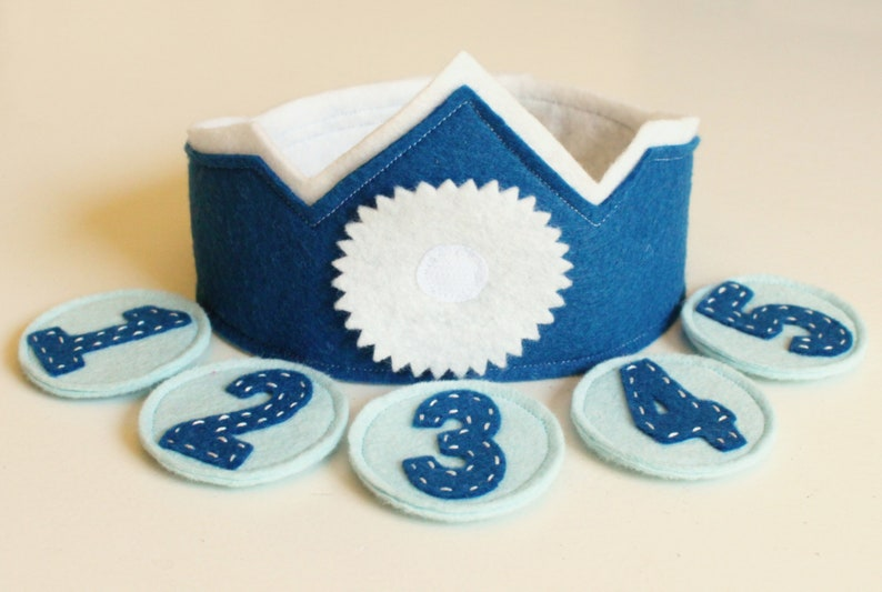 Felt Birthday Crown with Interchangeable Numbers DIY KIT Blue Teal Boy/'s Adjustable Wool