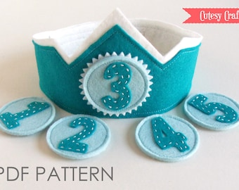 Felt Birthday Crown with Interchangeable Numbers PDF PATTERN - Blue Teal Boy's Adjustable Wool