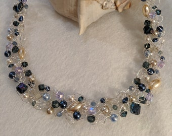 Elegant Blue & Pearl- Crochet Wire Necklace with Swarovski crystal and pearls