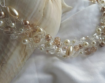 Vintage Pearls- Crochet Wire Necklace with Cool Tones