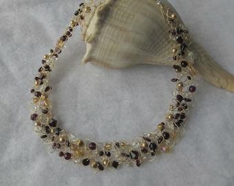 "Garnet & Gold"" Crochet Wire necklace"