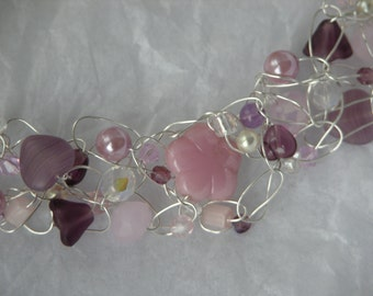 Peonies and Amethyst Crochet Wire Necklace
