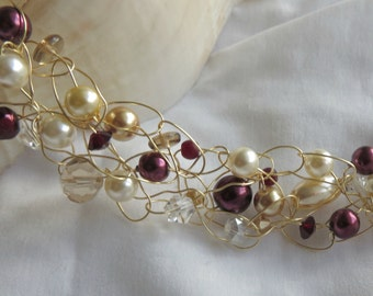 "Vintage Wine""- Crochet Wire Necklace"