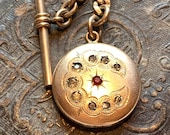 Antique Crescent Moon and Star locket fob with pocket watch chain. 13 gold link. Diamond and ruby glass paste. Groom Accessory