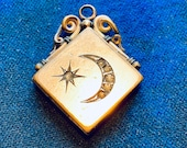 Antique crescent Moon and Star fob Locket. Gold gold fill and glass Diamond Paste pendant. Antique Gold jewelry. Pocket watch