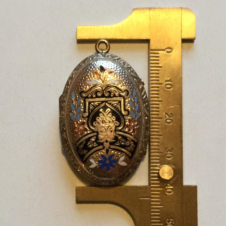 photo w tiny anchor /& cross charms LA eb Victorian Mourning Locket Antique gold fill and enamel memorial locket engraved