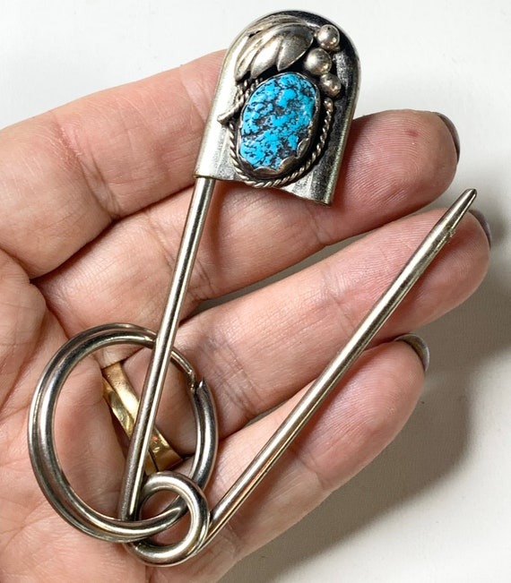 "Turquoise and Sterling safety pin, 4"" brooch. Blan"