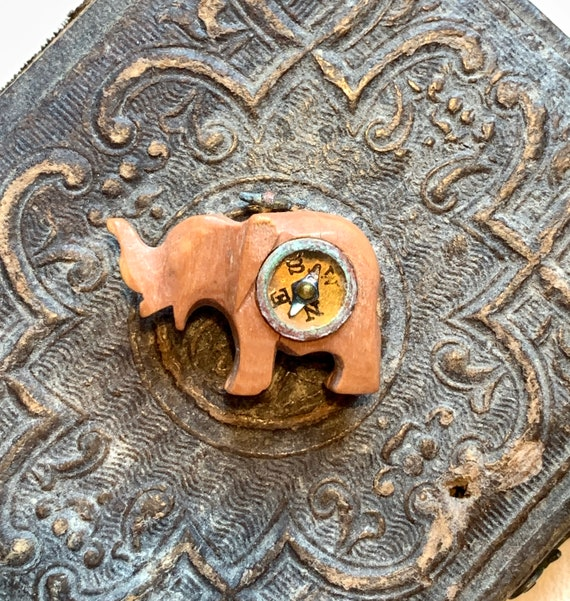 Carved wood Elephant fob with compass. 1930 30s. N