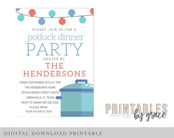 Potluck invitation etsy digital invitation custom potluck backyard bbq barbecue pdf invite printable download party house house waming thecheapjerseys Image collections