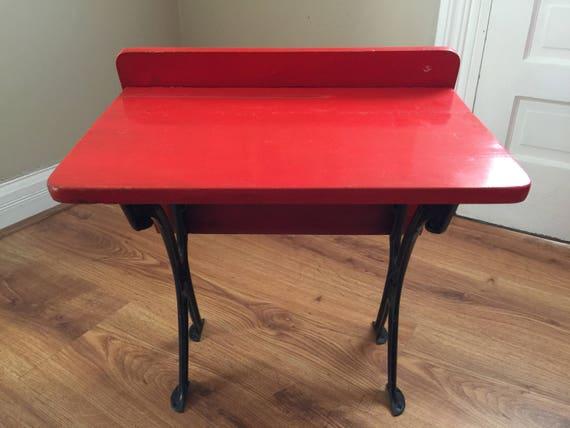 image 0 - Antique Child's Cast Iron And Wood School Desk Primitive Etsy