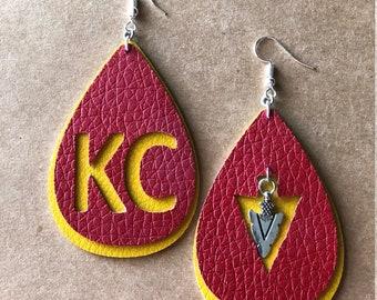 KC Chiefs leather earrings