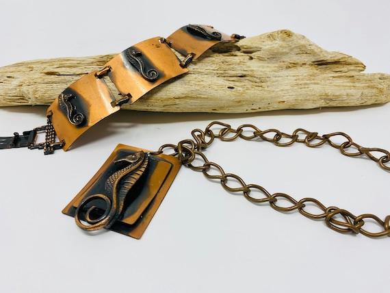 1970's Vintage Jewelry Set, Bracelet, Necklace, St
