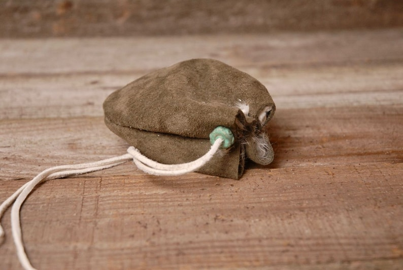 Leather Pouch Drawstring Pouch Crystal Pouch Treasure pouch Fur Lined Leather Pouch