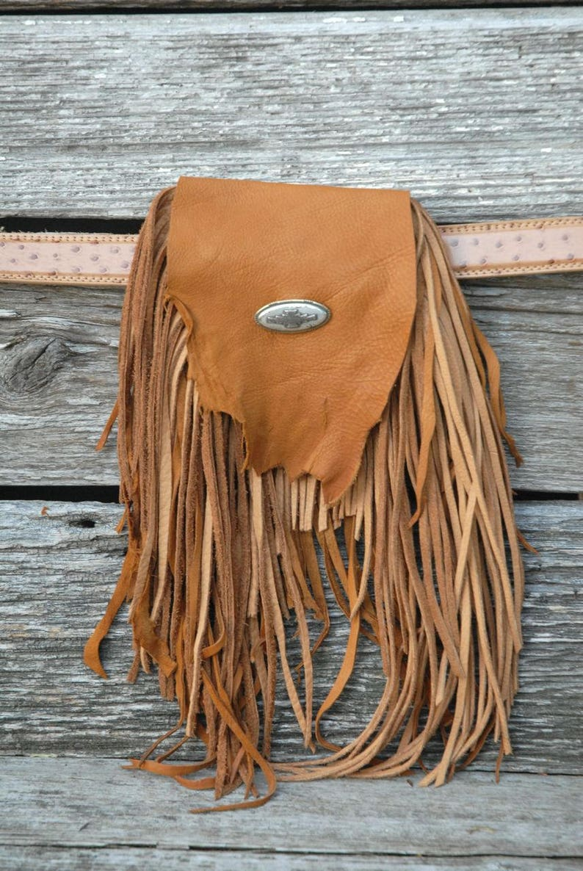 Western Belt Pouch Hippie Belt Pouch Crystal Belt Pouch Handmade Leather Belt Pouch Fringed Belt Pouch