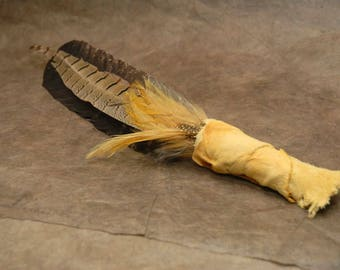 Leather wrapped smudge fan, Prayer Feather - Blessing Feather - yellow