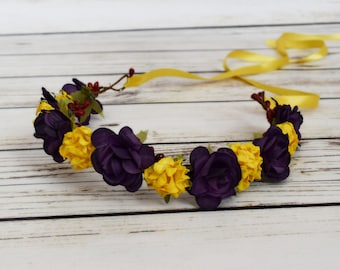 Handcrafted Plum and Yellow with Red Flower Crown - Renaissance Flower Crown - Plum Wedding - Fall Bridal -Adult Flower Crown -Woodland Halo